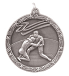 "1 3/4"" Silver Wrestling Shooting Star Medal"