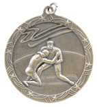 "2 1/2"" Gold Wrestling Shooting Star Medal"