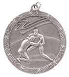 "2 1/2"" Silver Wrestling Shooting Star Medal"