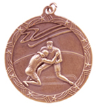 "2 1/2"" Bronze Wrestling Shooting Star Medal"