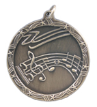 "1 3/4"" Gold Music Shooting Star Medal"