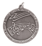 "1 3/4"" Silver Music Shooting Star Medal"