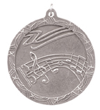 "2 1/2"" Silver Music Shooting Star Medal"