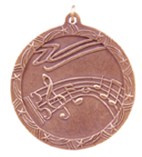 "2 1/2"" Bronze Music Shooting Star Medal"