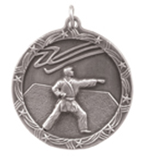 "1 3/4"" Silver Karate Shooting Star Medal"
