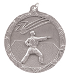 "2 1/2"" Silver Karate Shooting Star Medal"