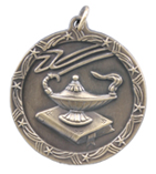 "1 3/4"" Gold Lamp of Knowledge Shooting Star Medal"