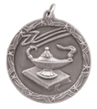 "1 3/4"" Silver Lamp of Knowledge Shooting Star Medal"