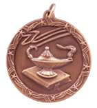 "1 3/4"" Bronze Lamp of Knowledge Shooting Star Medal"
