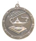 "2 1/2"" Gold Lamp of Knowledge Shooting Star Medal"