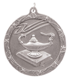 "2 1/2"" Silver Lamp of Knowledge Shooting Star Medal"
