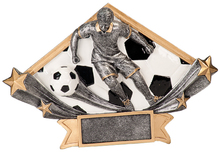 "5 3/4"" x 8 1/2"" Male Soccer Diamond Star Resin"