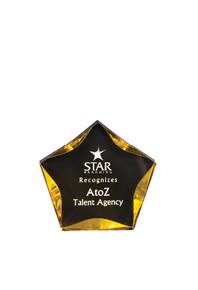 """5"""" Black/Gold Luminary Star Acrylic"""