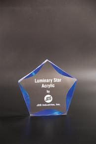 """6"""" Clear/Blue Luminary Star Acrylic"""
