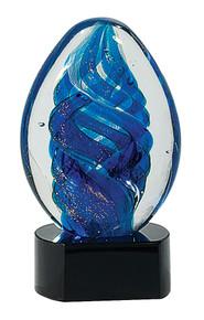 """6"""" Blue Oval Swirl Art Glass"""