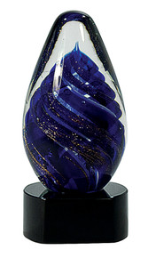 "6 1/2"" Blue Tear Drop Art Glass"