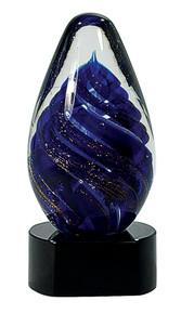 "6 1/2"" Blue Tear Drop Art Glass"