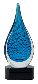 "12 1/2"" Blue Rain Drop Art Glass"