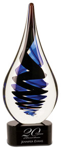 "11 1/4"" Black Twist Rain Drop Art Glass"