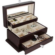 Kendal Large Wooden Jewelry Box Jewel Case Cabinet Ring Necklace Gift Storage Box Organizer WJC-06DC