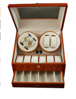 QUALITY WOOD QUAD WATCH WINDER (4) +12 STORAGE BOX-WW4+12OAK