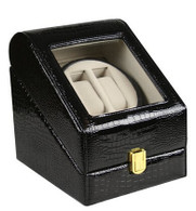 TOP QUALITY LEATHER AUTOMATIC DOUBLE WATCH WINDER BOX-PI-eYu