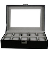 Kendal Watch Case Display Box With Clear Top Holds 10 Watches lock w/ key
