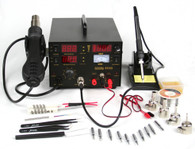 4 IN 1 SMD HOT AIR REWORK & SOLDERING IRON STATION / DC POWER SUPPLY & DC TEST METER 853D
