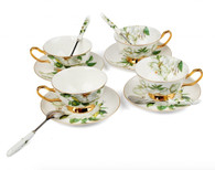 Porcelain Tea Cup and Saucer Coffee Cup Set White color with Saucer and Spoon 7 oz Set of 4 TC-SCH