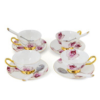 Porcelain Tea Cup and Saucer Coffee Cup Set White color with Saucer and Spoon 7 oz Set of 4 TC-HDL