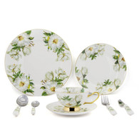 Porcelain Dinnerware 8 PC with dinner plates, salad plates, dinner knife, dinner fork, tea Cup, Saucer, coffee Spoon, dinner Spoon TC-DSCH
