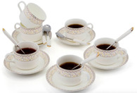 Porcelain Tea Cup and Saucer Coffee Cup Set with Saucer and Spoon 18 pc, Set of 6 TC-ZSCQ