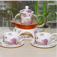 Kendal 27 oz tea maker teapot with a Porcelain warmer and 2 set of Porcelain Cup and Saucer and Spoon SI-XYC (3-XYC)