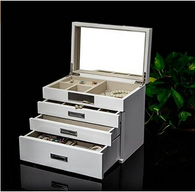Kendal Quality Wooden Jewelry Box Case Storage with Piano Paint (Cream)