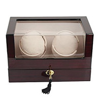 Kendal Top Quality Double Wooden Watch Winder with Advanced Control Japan Motor W2+0cbk