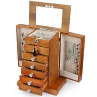 Large Real Wood Wooden Jewelry Box Locked with a Key (2-ZH-WJC7AK)
