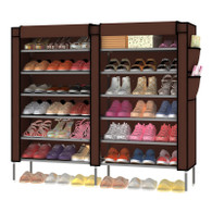 7-Tier Portable Shoe Rack Organizer 36-Pair Shoe Storage Cabinet Beige SI-SR120H