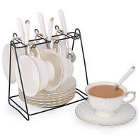 Porcelain Tea Cup and Saucer Coffee Cup Set with Saucer and Spoon, Set of 6 SI-STW-W