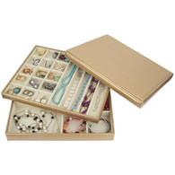 Golden Leather Jewelry Box / Case / Storage / Organizer (a--LJT002)