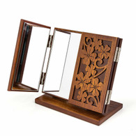 Kendal Vintage Wooden Tabletop Tri-Fold Cosmetic Makeup Mirror, Clover