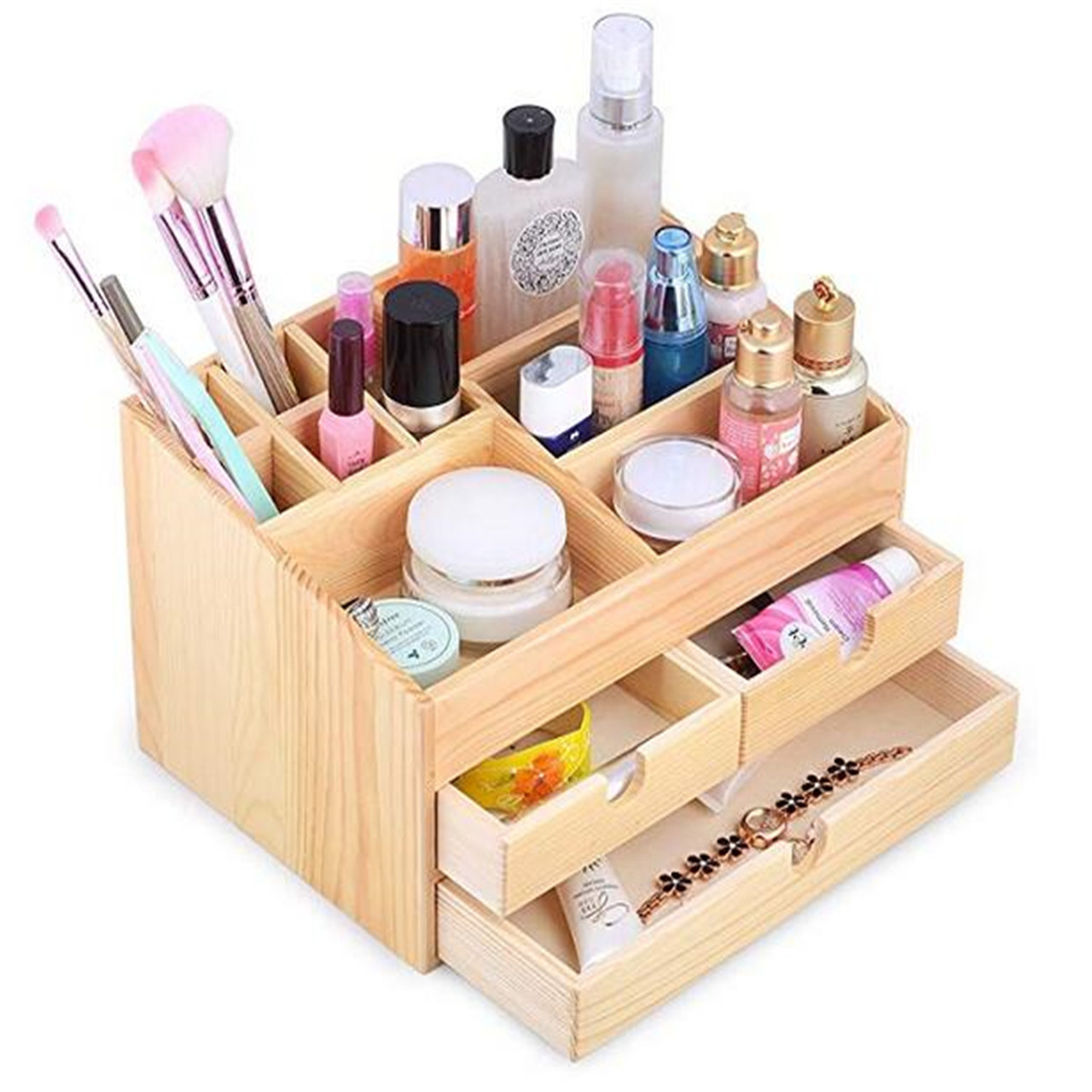 Kendal Wooden Desktop makeup cosmetic Organizer Display Box case with  Storage Drawers WSB48PC