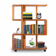 Kendal 4 Tiers Wood Bookshelf Rack Organizer with Dismountable Construction and Lockable Casters WBS01AK