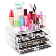 Acrylic Jewelry and Cosmetic Makeup Storage Display Case Box for Dresser, Vanity and Countertop
