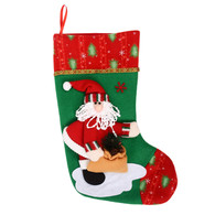 Plush 3D Applique Style Felt Christmas Stocking CS45