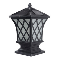 Kendal Large Outdoor Solar Lamp Post Light Powered LED Cap Light Water-Resistant Pillar Light, Black