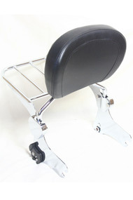 Touring Sissy Bar and Luggage Rack Combo Set: Detachable Chrome Sissy Bar Rack, Chrome Luggage Rack, Black Backrest Pad