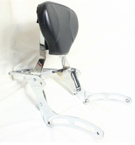 Chrome Sissy Bar Set: Sissy Bar Rack, Side Brackets, Luggage Rack, Black Backrest Pad