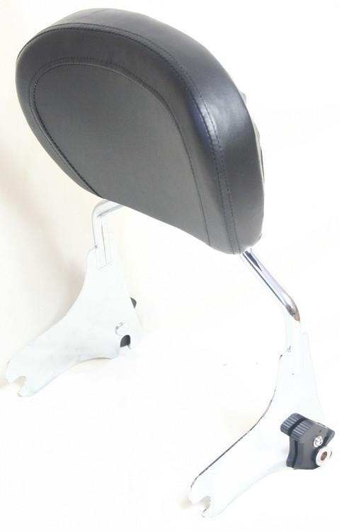 Touring Detachable Chrome Sissy Bar Rack, Black backrest pad