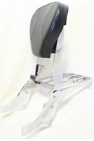Chrome Suzuki Sissy Bar Set: Sissy Bar Rack, Side Brackets, Luggage Rack, Black Backrest Pad
