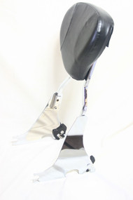 Detachable Sportster XL Sissy Bar Set: Chrome Sissy Bar Rack, Left Side plate, Right Side plate, Black Backrest Pad